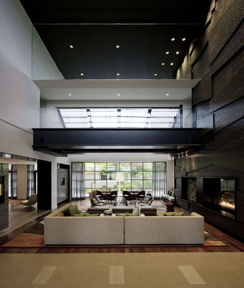 living #sitting #void #fireplace #timber #glass #black #lobby