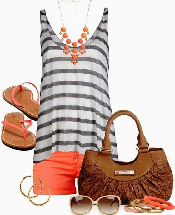 2014 Stripes Top Summer Outfit. Minus the hideous handbag.