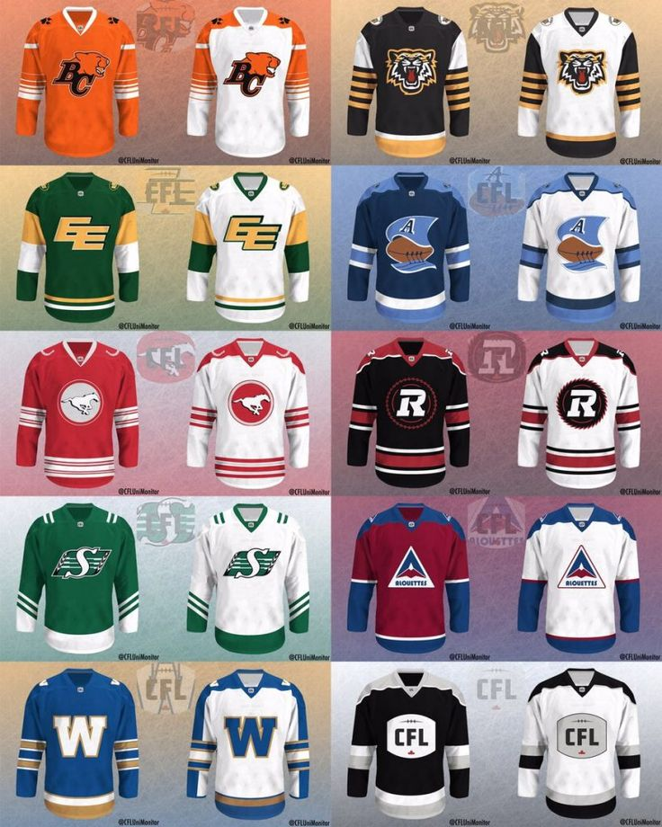 CFL Teams Get The Hockey Jersey Treatment, done by Tim Hodge (@CFLUniMonitor on Twitter) -  http://www.thesnap.ca/cfl-teams-get-hockey-jersey-treatment/