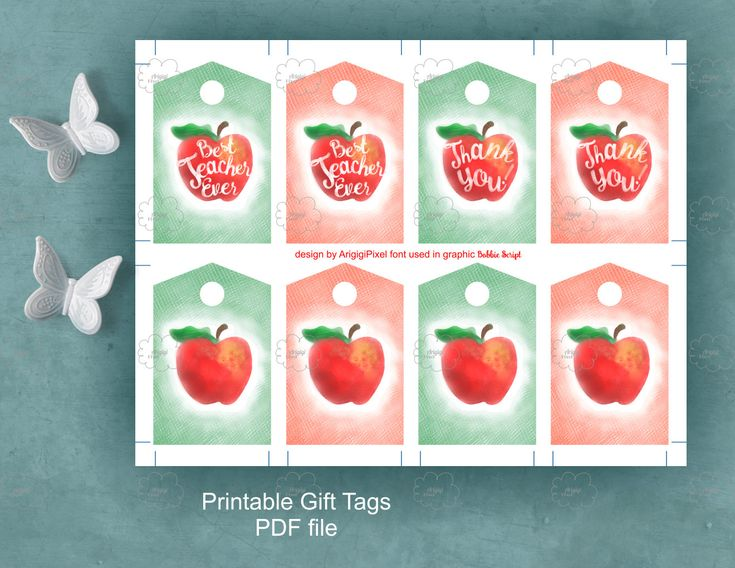 Printable RED APPLE gift tags come with nice calligraphy text '' Best teacher ever'' and '' Thank you ! ''.   Beautiful teacher appreciation tags for download. The lovely red apple gift tags are digitally painted mixing colored pencils and watercolor digital brushes.