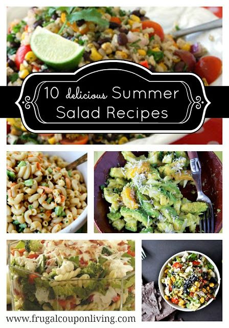 Ten Delicious Summer Salad Recipes - Yummy Ideas on Frugal Coupon Living  #Recipe #Summer