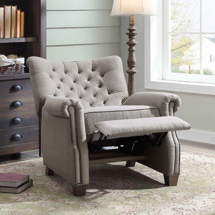 Better Homes and Garden Tufted Push Back Recliner, Gray
