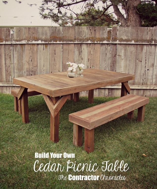 Cedar Picnic Table   The Contractor Chronicles | Yard Ideas | Pinterest | Picnic  Tables, Picnics And Diy Picnic Table