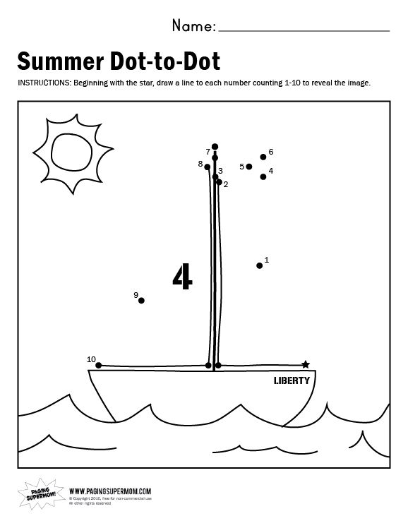Summer Dot To Dot Worksheets : Sailboat dot to worksheet paging supermom school
