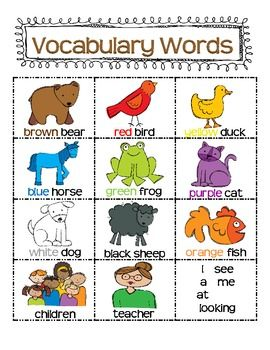 "FREE ""Brown Bear, Brown Bear"" word cards"