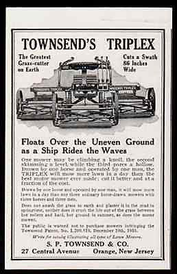 "paperink id: ads5008s Grass Mower Townsend's Triplex Grass 86"" Mower 1916 Patent Drawn by One Horse Operated by One Man 1920 AD This is a small size AD measuring approximately 3"" x 4.5"". AD is in Very"