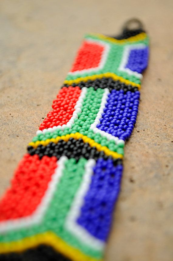 South African flag braceletBeaded African by akwaabaAfrica on Etsy