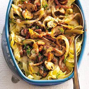 Recept - Tagliatelle met champignons en witlof