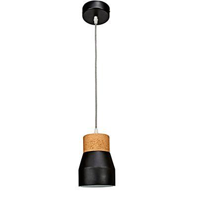 Calia Suspension en céramique noire et liège D13cm