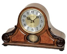-Beautiful Rhythm Table Clock with Westminster-Chime  -wooden Case  -SIP -Sound In Place-  Chime & Melodie  -4 x 4 WESTMINSTER  -HOURLY WESTMINSTER  -16 MELODIES  -3 X-mas SONGS  -automatic Night-shut-off PM11:00-AM5:45  -24Hr ON  -Made in Japan  -2 Years Guarantee  -Batteries: 2 standard C Size