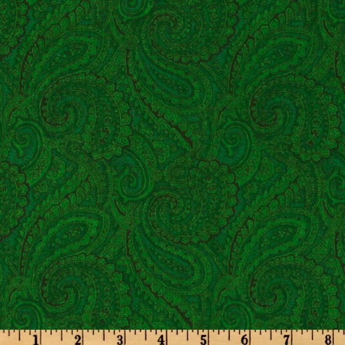 108 Complementary Quilt Backing Paisley Dark Green