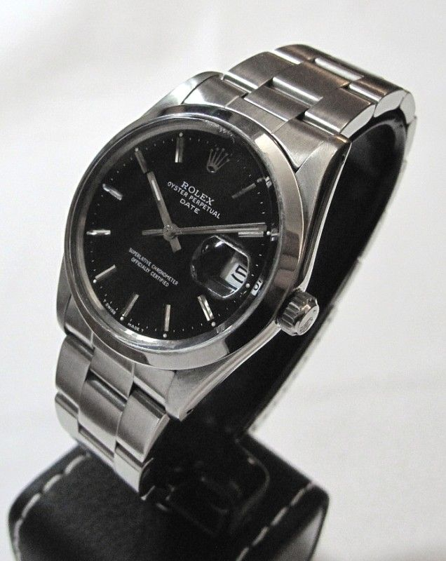 Rolex Oyster Perpetual QS Date 15000, Black Dial, SS HEAVY ...
