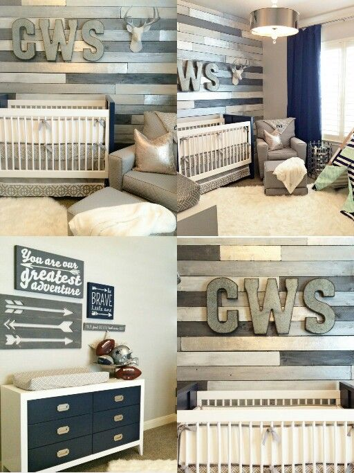 Navy blue and grey rustic theme baby nursery