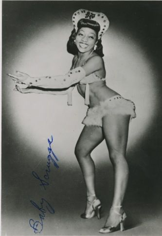 """burlyqnell:              Vintage signed 5x7 of Baby Scruggs, who was best known for her performance in """"Paris to Piccadilly"""" in London, England in 1952 and 1953.              Leazar 'BABY' Scruggs, 1950s"""