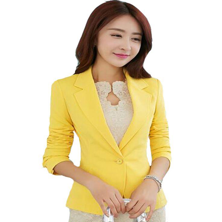 2017黒黄青正式な女性ブレザージャケット短いblasers mujer女性のスリム長袖女性のスーツコートジャケット