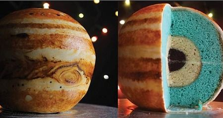 DIY Jupiter Cake Tutorial for an outer Space party / astronaut party! Boys birthday cake. Gorgeous inside and out! spherical cake / planet cake! Via Cake Wrecks - Home - Sunday Sweets... In... SPAAAACE!