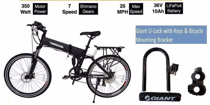 X-Treme BAJA 36 Volt Lithium Electric Folding Mountain Bike Black,w/Giant U-LocK