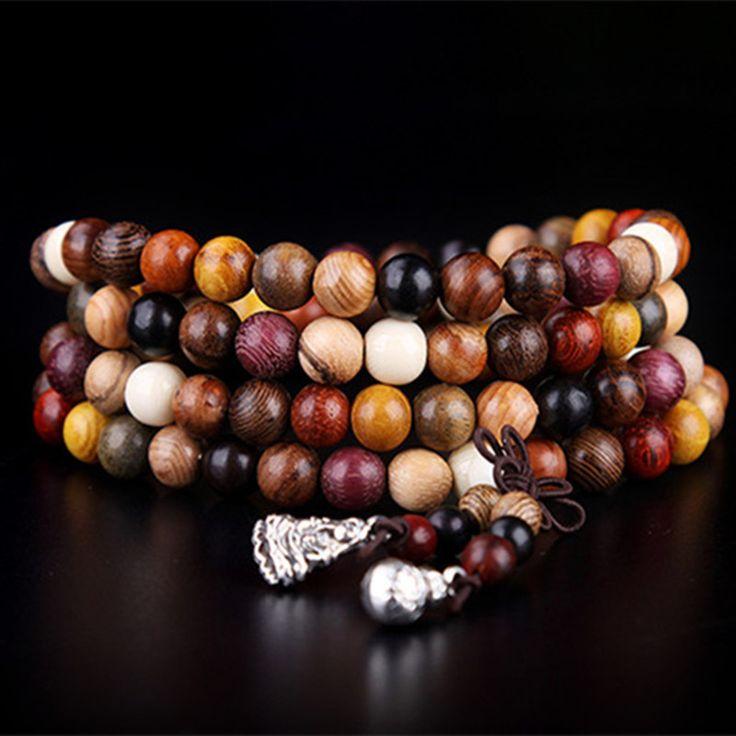 108 pz Varietà di legno di Sandalo Buddista Tibetano di Preghiera Borda I Braccialetti Buddha Mala Rosario di Legno braccialetto di Fascino Del Braccialetto Fai Da Te Gioielli