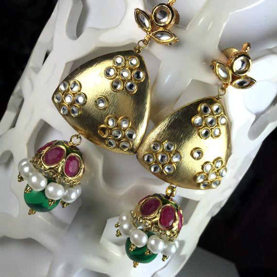 Sale Ethnic jhumka Earrings Kundan & Pearls ruby by JhumkaBali