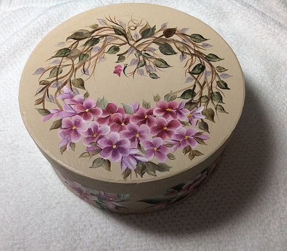 ROUND Grape vine Heart  Floral Gift Box - Keepsake - Trinket box - Hand painted on Etsy, $15.99
