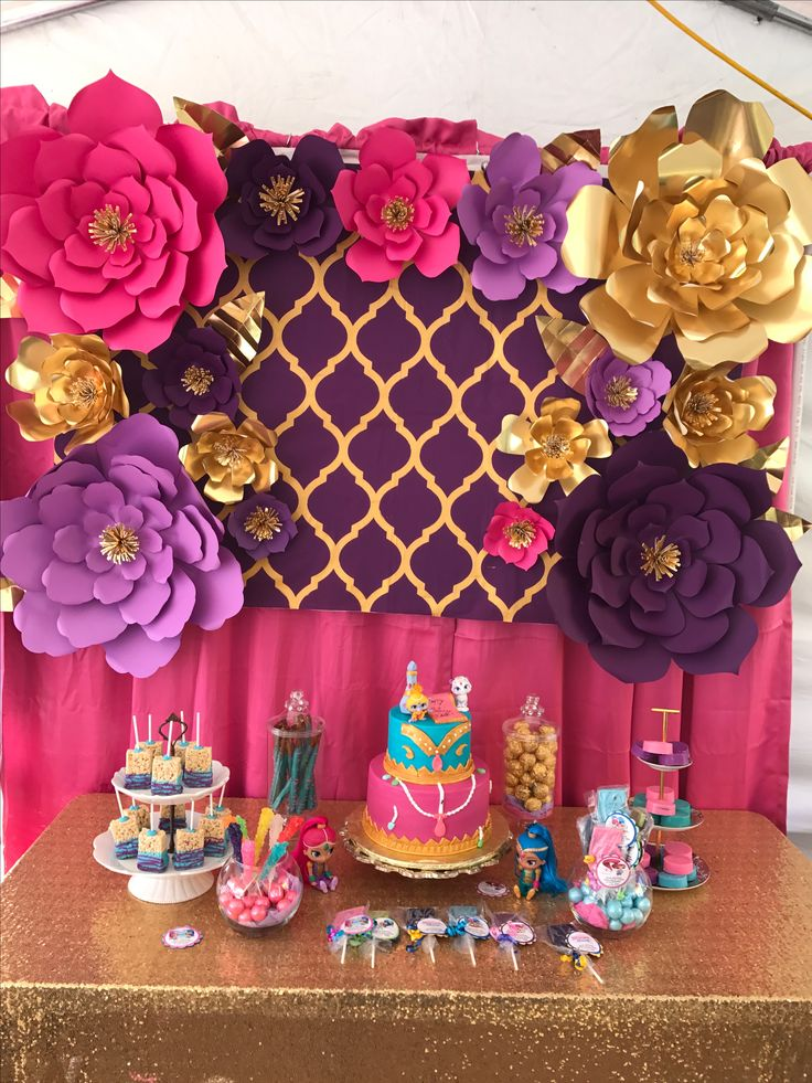 Shimmer and shine dessert table, party table, ideas, desserts