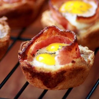 Breakfast toast cups - use double fiber whole wheat bread and Canadian bacon to make it healthier. 1 egg   veggies too?