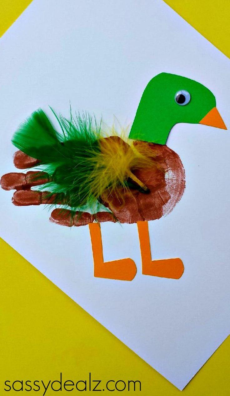 duck handprint craft for kids