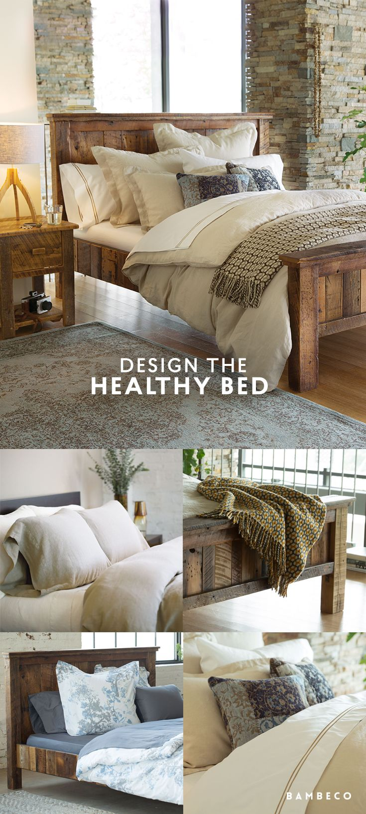 Reclaimed wood bed frames - Make A Traditional Bed Pop With Hints Of Blue And Rest Assured Our Bedding Reclaimed Wood Bed Framewood
