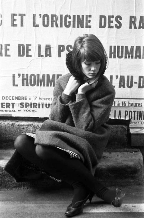 Delicate and poetic - pose, lighting, foot off kilter/specific moment, street scene, writing - Françoise Hardy