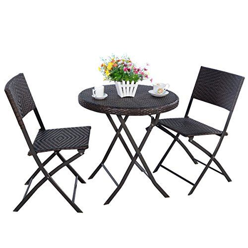 3pc folding round table and chair bistro set rattan wicker outdoor rh pinterest com Outdoor Table and Chairs 2 Outdoor Table and Wicker Chairs