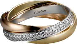 Trinity de Cartier ring White gold, yellow gold, pink gold, diamonds