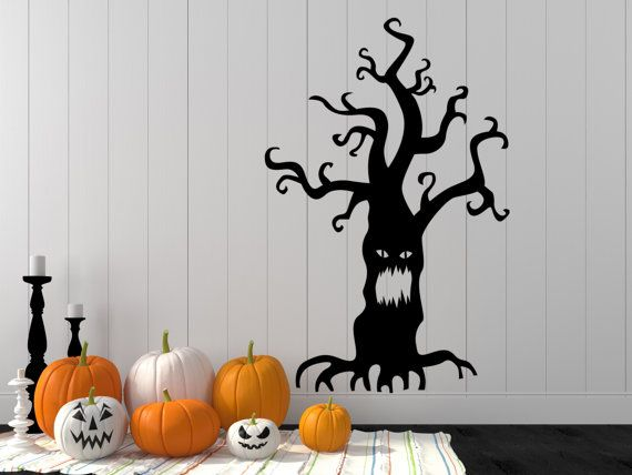 Check It Out On Our Etsy Listing At Https://www.etsy.com/listing/247005793/ Halloween Decal Halloween Wall Decal #Halloween #Decoration #Tree #Decal  #Spooky ...