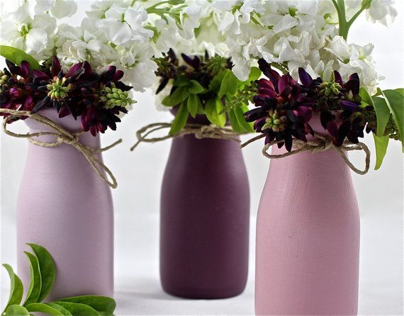 Shabby chic home decor milk bottles centerpieces by