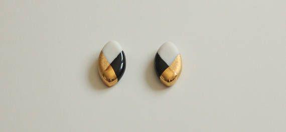 Oval Schwarz und Weiß Ohrringe aus Porzellan 18K Gold Luster