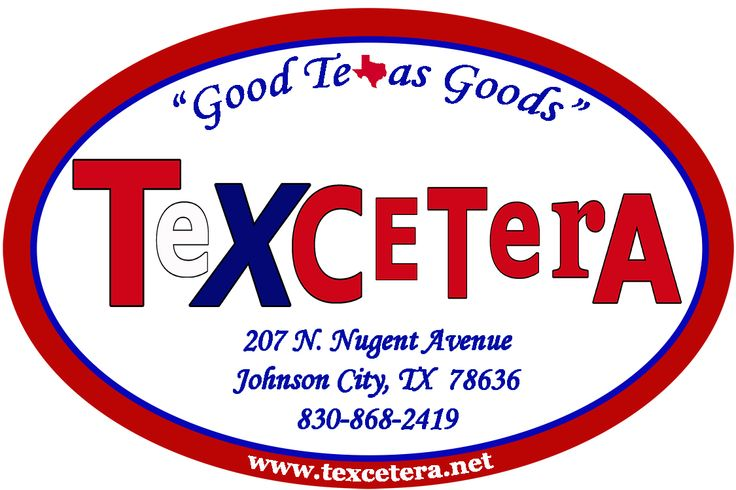 Texcetera:    Good Texas Goods along with Great Texas Art! Texas artists & craftsmen - pottery, textiles, paintings, jewelry, mesquite along with chocolates, candles+. 207 N Nugent in Johnson City, TX