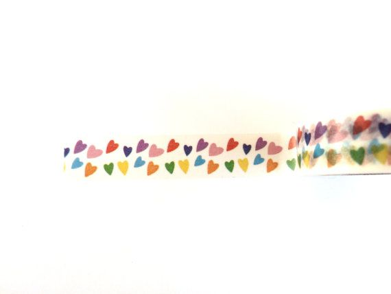 Colorful hearts washi tape cute deco tape by Dotscutesupplies