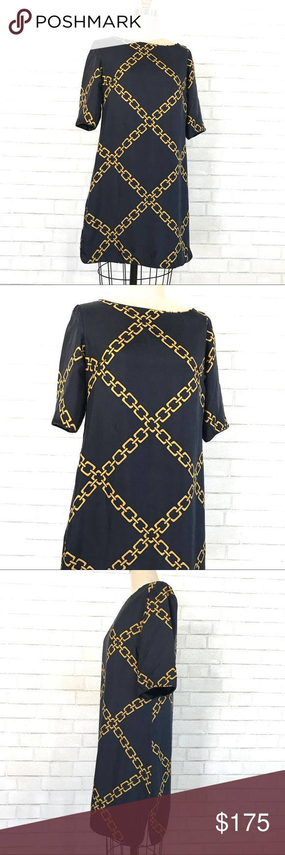 Silk Gold chain printed Elizabeth McKay dress Stunning silk shirt dress by Elizabeth McKay   Size 6, soft lux 100% silk shell and full underlining, 5 button up back, New never worn no tags, this dress is amazing perfect for summer with sandals and amazing with skinniest when it cold out.   Ⓜ️Chest 40 Ⓜ️Waist 38 Ⓜ️Hips 42 Ⓜ️Length 34 Ⓜ️Sleeves 13  ✅Bundle and save  ✅🚭 🚫No Trading 🙅🏻 Poshmark rules only‼️ Elizabeth McKay Dresses