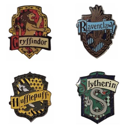 """These Hogwarts house crest pins: 