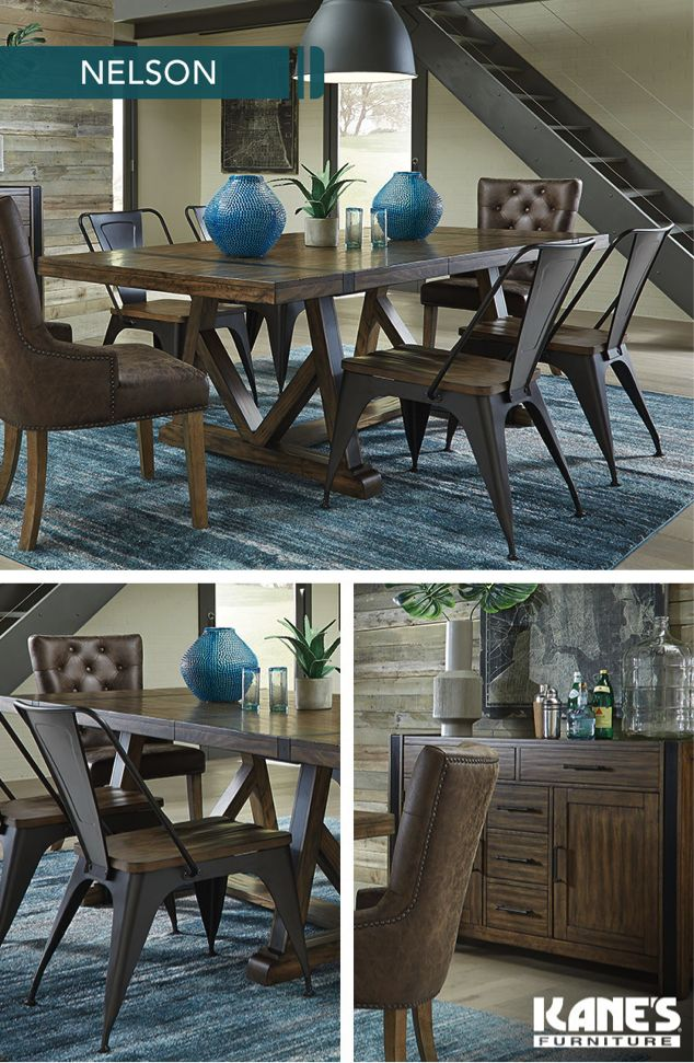 Bring This Trend To Your Table With The Nelson Dining Room A Perfect Marriage Of Weathered Wood And Distressed Metals