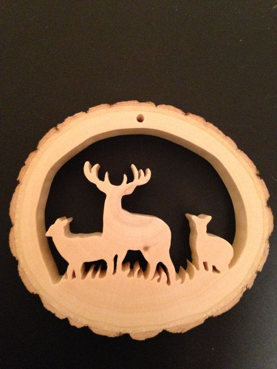 Hand-Crafted-Reclaimed-Tree-Slice-Three Deer by RidersWoodWorks