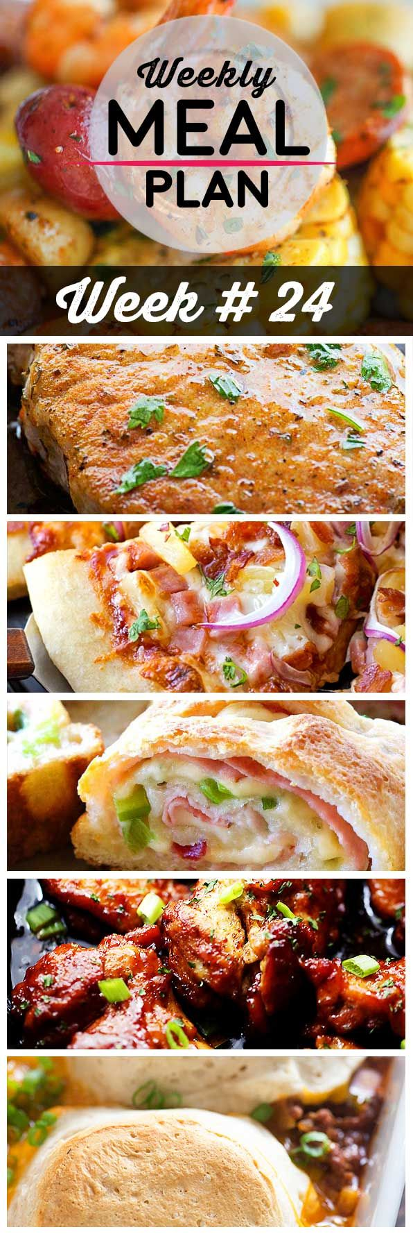 Weekly Meal Plan #24! A meal plan to help you keep things tasty each week, including shrimp foil packets, smoky ranch pork chops, Hawaiian BBQ pizza, and more!   HomemadeHooplah.com