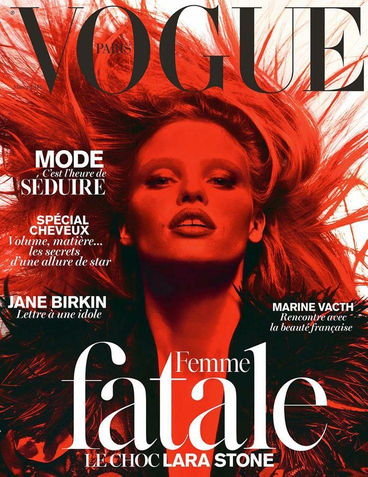 Lara Stone | Vogue France | March 2014 Vogue Paris is qua styling en vormgeving een van mijn favorieten. Het is meer edgy en artistiek dan de meeste vogue uitgaven vind ik.