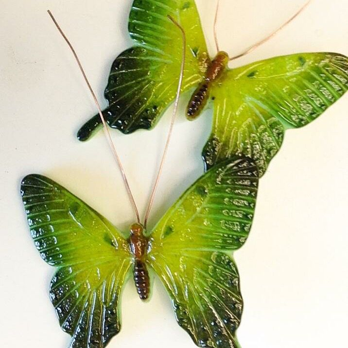 Fused glass butterflies made using Creative Paradise molds
