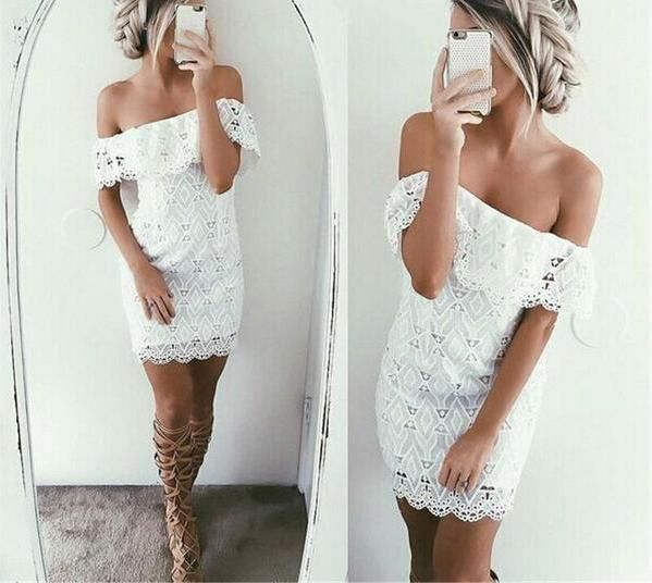 summer off the shoulder white dress, white lace dress, sexy lace dress - Crystalline
