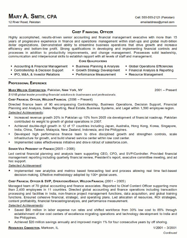 resume sample chief financial officer page 1