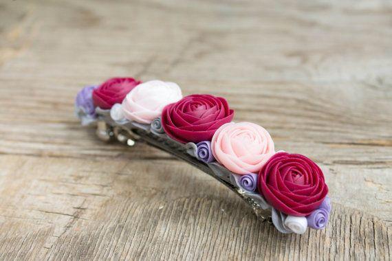 Flowers hair clip   polymer clay  wedding hair clip by eteniren, $21.90