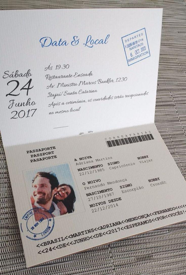 Convite Casamento Criativo Passaporte Aniversario (10 Unid.) - R$ 26,90