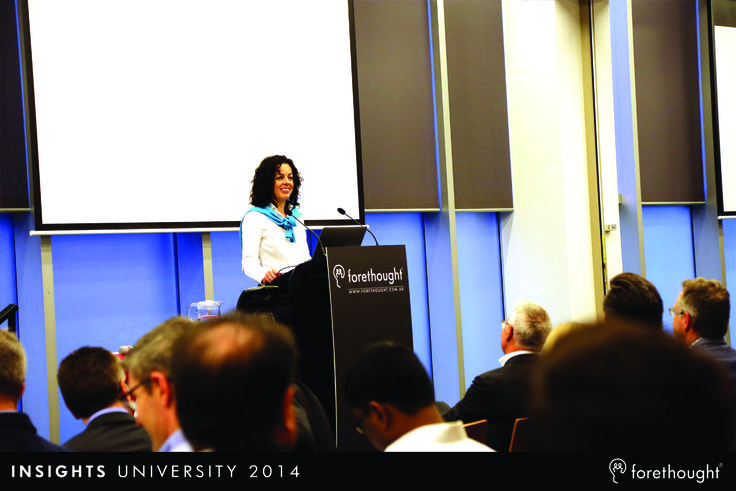 Rachel Edwardes, Head of Marketing, Forethought setting the agenda and commencing the program at #InsightsUni14. www.forethought.com.au