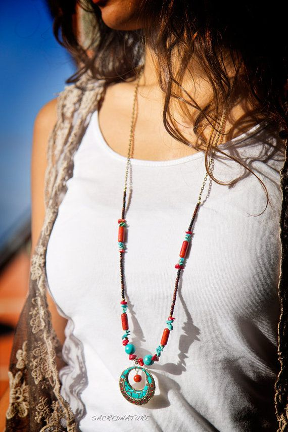 Bohemian Ethnic Nepalese Necklace Nepal by SacredNatureShop