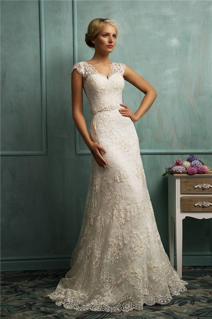 Fitted A Line Cap Sleeve Illusion Back Vintage Lace Wedding Dress